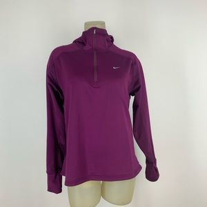 Nike women's 1/2 zip Hoodie shirt purple size xl